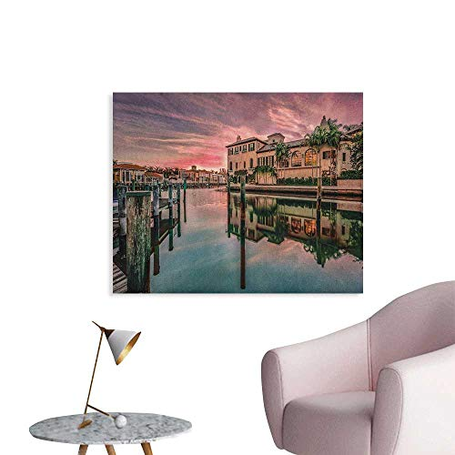 Anzhutwelve Cityscape Photographic Wallpaper Colorful Sunrise Over Venetian Bay Naples Florida Apartments Trees Waterscape The Office Poster Purple Green W36 xL32]()