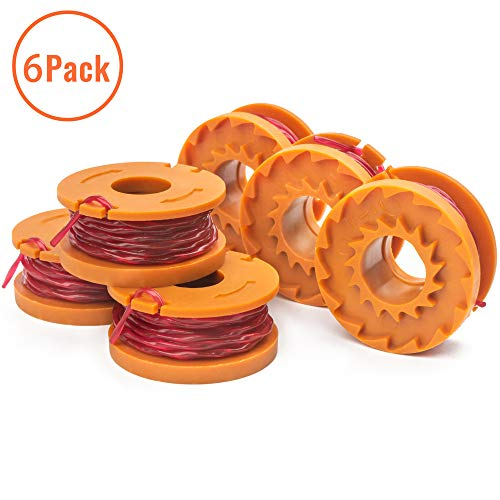 X Home Edger Spools Compatible with Worx WG180 WG163 WG175 WG155 WG160 WA0010 Weed Wacker Eater String Trimmer Replacement Spools Line Refills Parts 10ft 0.065 inch Auto-Feed Single Lines (6 pcs)