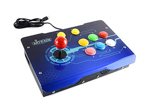 (Arcade-D-1P Arcade Joystick Button Console Game Console USB Interface can be Connected to Raspberry Pie/Computer/TV, etc.)