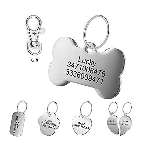 LYL Etiquetas de identificación de Mascotas de Acero Inoxidable Etiquetas de Perro Personalizadas Personalizadas Grabado Frontal/Posterior para Gato y ...
