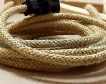 35 feet ROUND HEMP ROPE 18/2 Cloth Natural Fabric Electrical Cord, Great for Vintage, Industrial, and Antique Lamps & Fans DIY (HEMPROPEROUND35)