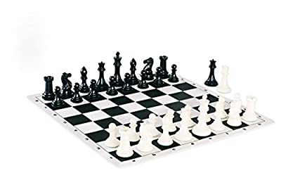 Quadruple Weight Tournament Chess Game Set - Chess Board Game with Staunton Ivory Chess Pieces, Black Silicone Chess Board