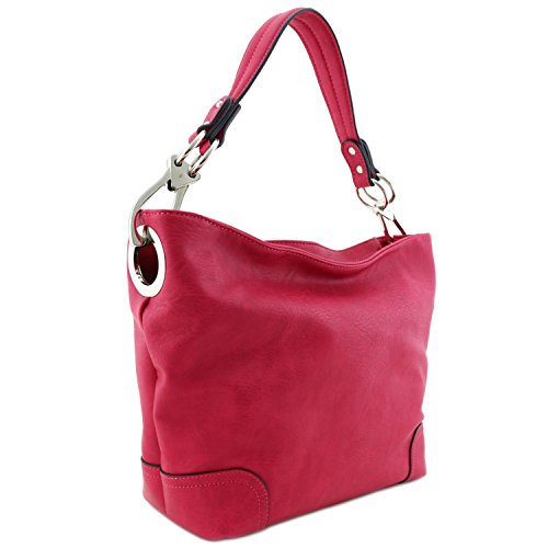 [Hobo Shoulder Bag with Big Snap Hook Hardware (Fuchsia)] (Hobo Purse)
