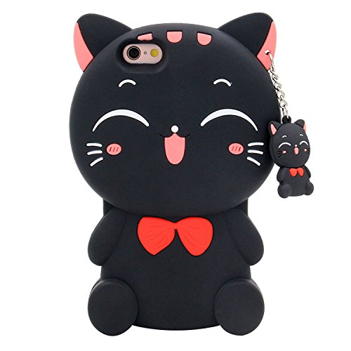 iPhone 6s Case, MC Fashion 3D Lucky Fortune Cat Kitty with Cute Bow Tie Silicone Rubber Phone Case Cover for Apple iPhone 6/6s (Black)