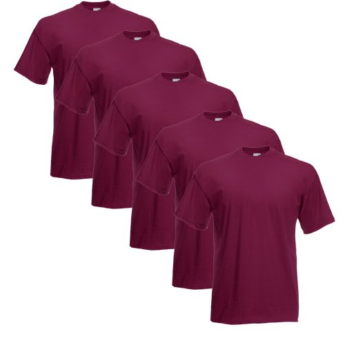 Fruit of the Loom T-Shirts 5er Pack XL,Burgund