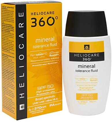 Heliocare 360º Mineral Tolerance Fluid Spf50+ 50ml - All Type of Skins - Regenerate and Moisturize Your Skin - Combat Dryness - Provides Intense and Deep Hydration