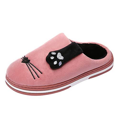 Limsea 2018 Winter Women Winter Home Slippers Cartoon Cat Non-Slip Warm Indoors Bedroom Floor Shoes 7.5-8 Pink