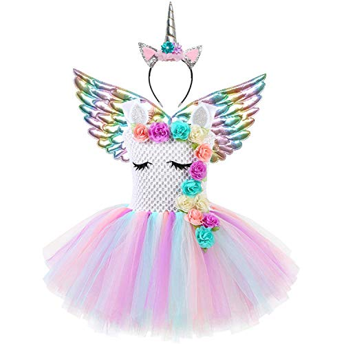 Rainbow Unicorn Dresses for Girls Costume Pageant Princess Birthday Party Outfit