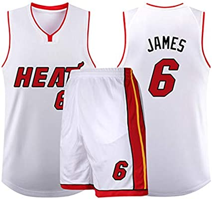 new styles 0a971 ad17a Lebron James No. 6 Miami Heat Basketball Jersey Stretch ...
