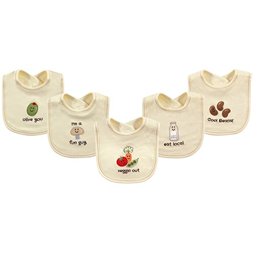 Touched by Nature Baby Organic Cotton Bibs, Veggin Out 5Pk, One Size