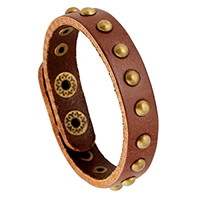 Fablcrew Vintage Rivet Bracelet Braided Artificial Leather Adjustable Wristband Bracelet Bangle Multilayer set for Unisex