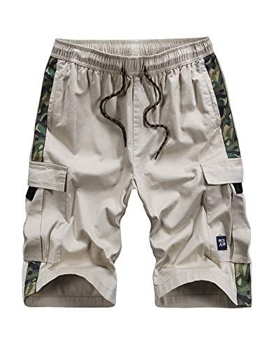 APTRO Men's Cargo Shorts Relaxed Fit Multi-Pockets Camo Casual Shorts Beige XXL