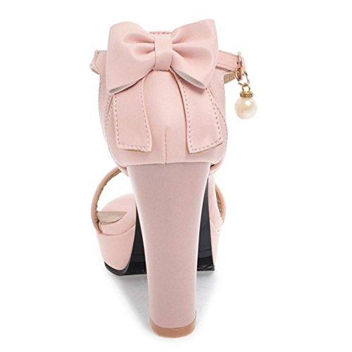 TAOFFEN Women Fashion Strap Heels Sandals Bow Pink iFMG2Zz