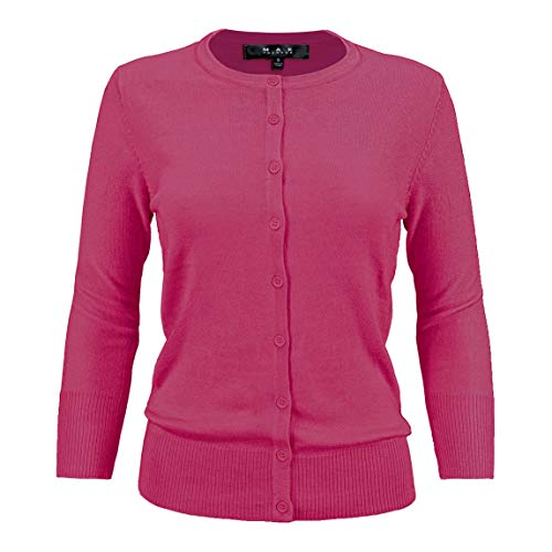 - Women's Crewneck Button Down Knit Cardigan Sweater Vintage Inspired CO079-MGT-M