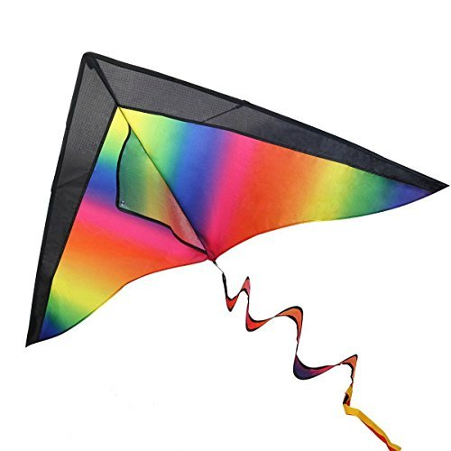 iBaseToy Huge Rainbow Kite for Kids and Adults with String & 3 Different Tails - Easy Flyer Kite for Outdoor Games Activities, 47