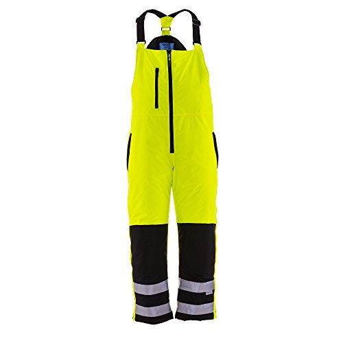 Refrigiwear Men's Hivis Insulated Rainwear Bib Overalls - ANSI Class E High Visibility Lime with Reflective Tape (2XL) (Ansi 3 Class Overalls)