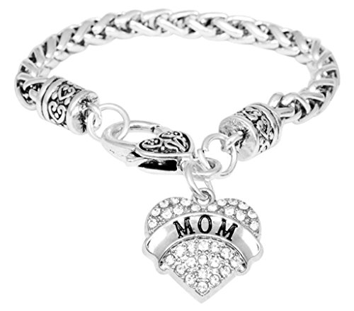 Mom Bracelet Engraved Gift Jewelry Mom Crystal Adorned Heart Shaped Pendant Lobster Claw Bracelet Gift Mom Grandma Colorless