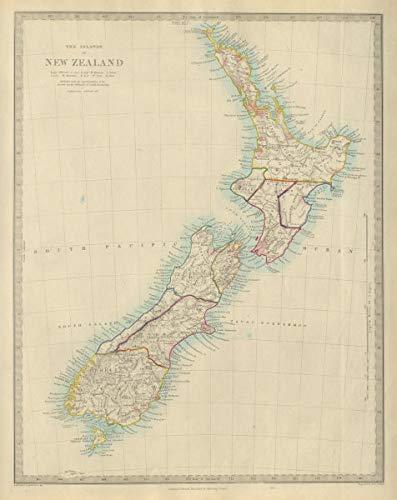New Zealand Provinces inc. Westland. Tavai Poenammoo Eaheinomauwe. SDUK - 1874 - Old map - Antique map - Vintage map - Printed maps of New ()