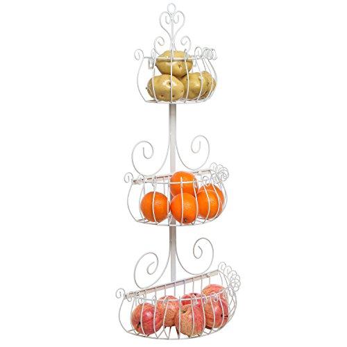 MyGift Wall-Mounted Scrollwork Design 3-Tier Metal Fruit Basket/Kitchen Storage Rack, Cream by MyGift