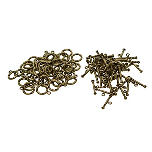 - SM SunniMix 50 Sets Round Loop and Bar OT Toggle Clasp for Jewelry Making Design Repair Supply Bronze