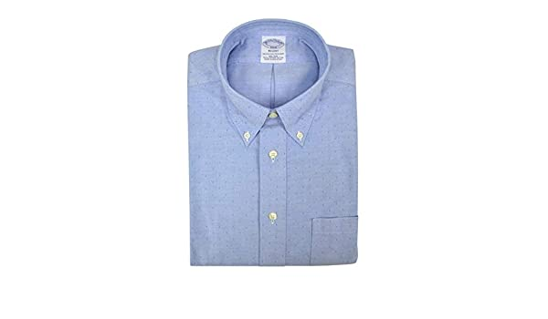 Brooks Brothers Mens Regent Fit All Cotton The Original Polo Button Down Shirt Chambray Blue Square Dobby Knit
