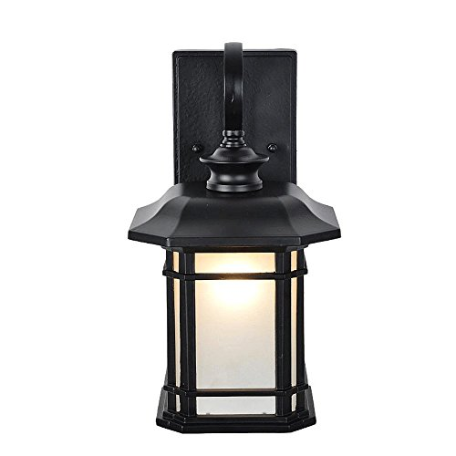 Modeen Chinese Japanese Style Aluminum Glass Wall Lamp Simple Modern Antique Vintage Waterproof Outdoor Wall Lamp E27 Decoration for Villa Balcony Terrace Gate Courtyard (Vintage Glass Japanese)