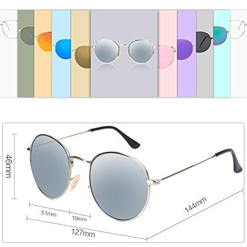 1d51638398 SojoS Small Round Polarized Sunglasses Mirrored Lens Unisex Glasses SJ1014  3447