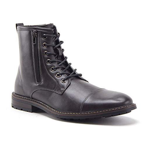 Jazamé Men's Carson Distressed Cap Toe Tall Motorcycle Military Combat Dress Boots