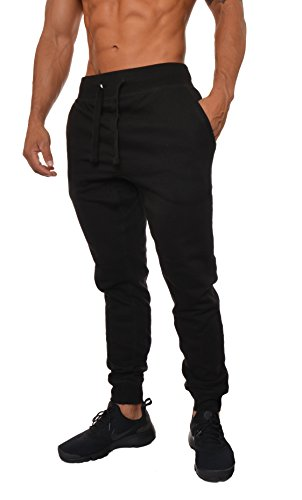 YoungLA Mens Slim Fit Joggers Fitness Activewear Sports Fleece Sweatpants For Gym Training Black X-Large