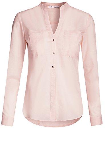 oodji Ultra Mujer Camisa de Algodón Grueso con Charreteras Rosa (4010O)