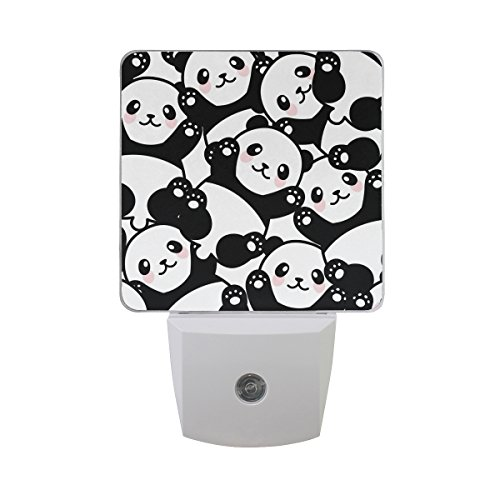 JOYPRINT Led Night Light Cute Panda Animal Pattern, Auto Senor Dusk to Dawn Night Light Plug in for Kids Baby Girls Boys Adults Room (Panda Bear Lamp)