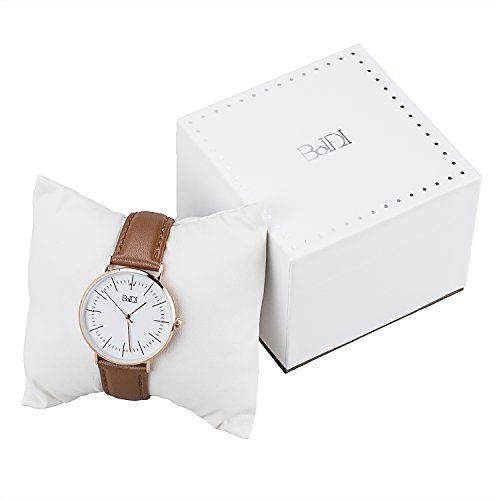 BaIDI Round Dial Quartz Wrist Watch with Leather Strap, Casual Analog Watches for Women Ladies- Brown