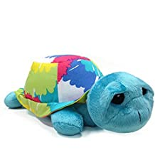 One Grace Place Terrific Tie Dye Stuffed Toy Turtle, Aqua Blue, Royal Blue, Purple, Yellow, Green, Orange, Pink, Red and White by One Grace Place