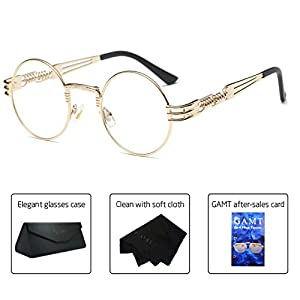 GAMT Steampunk Round Eyeglasses Metal Frame Clear Lens Eyewear for Men and Women Transparent