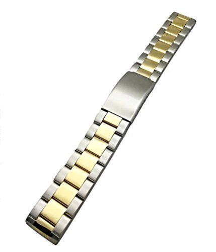 Wrist Solid Watch Tone Two (20mm Metal Watchband by NewLife | Men's Women's Gold-Tone and Silver Stainless Steel Strap Replacement Wrist Band Bracelet with Clasp that brings New Life to Any Watch)