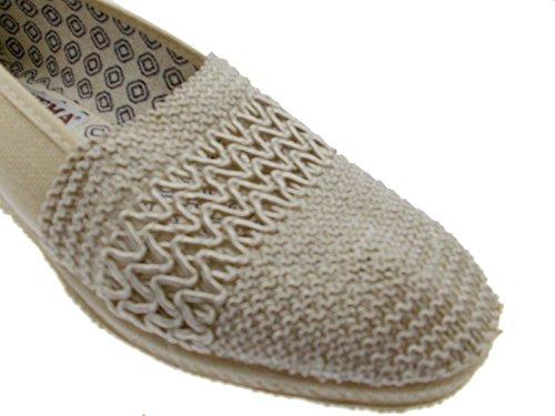 Slipper beige élastiquée extra large coin coton en dentelle