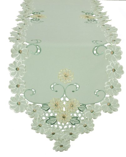 (Xia Home Fashions Emerald Daisy Embroidered Collection Cutwork Spring Table Runner, 15 by 54-Inch)