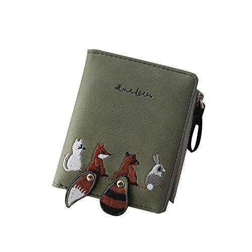 Women's Animal Pattern Leather Bifold Zip Pocket Wallet Credit Card Holder Organizer Purse Cute Retro Clutch Handbag with ()