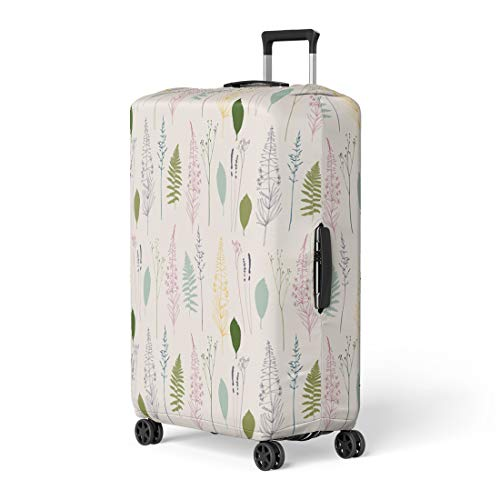 Semtomn Luggage Cover Floral Fireweed Flowers Dill Fennel Fern Leaves Lavender Travel Suitcase Cover Protector Baggage Case Fits 22-24 Inch