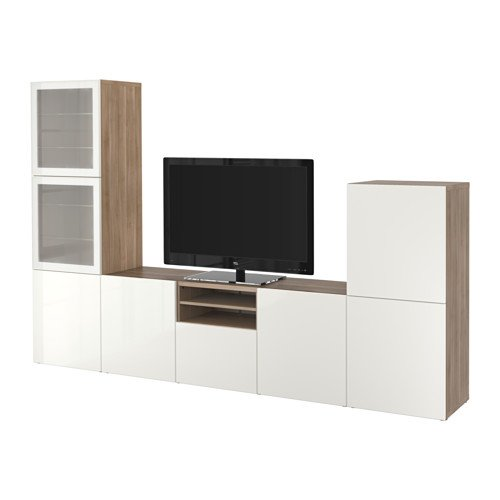 Ikea TV storage combination with soft-closing doors and drawers, walnut effect light gray, Selsviken high-gloss/white frosted glass 10202.262026.614