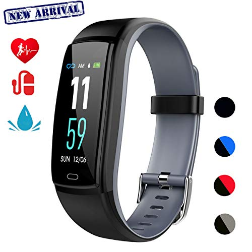 Fitness Tracker,Smart Watch Activity Tracker Health Bracelet Waterproof Wristband with Heart Rate Blood Pressure Pedometer Sleep Monitor Calorie Step Counter for Men Women Kids  (Gray)