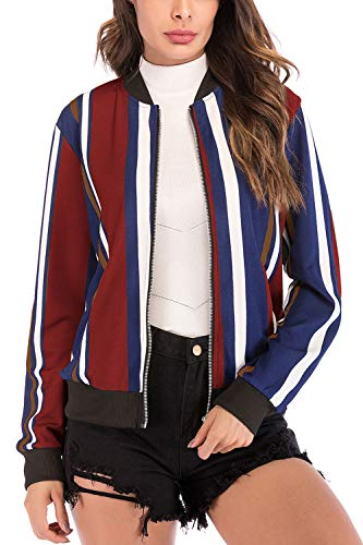 Giacca Basket Aperta Piena Outwear Stampa Zip Le Yulinge Donne Cardigan 10 qA68Zw