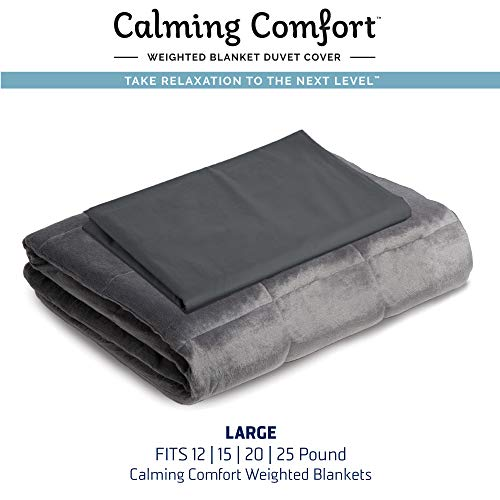 "Calming Comfort by Sharper Image Weighted Blanket Duvet Cover | Large- Grey, Fits 15, 20, 25 lb Blanket 50"" x 75"""