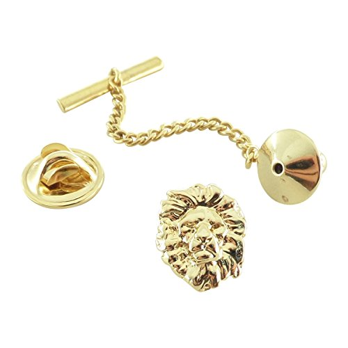 Pin Lion Head (Creative Pewter Designs, Pewter Lion Head Tie Tack, Gold Plated, MG102TT)