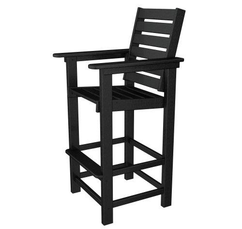 POLYWOOD CCB30BL Captain Bar Chair, Black