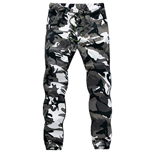 kaifongfu Mens Camouflage Pants, Sport Lashing Belts Long Trouser Casual Baggy Sweatpants Drawstring Overalls(White,XXXL)