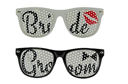 5bdfa9f77d Amazon.com  Bride and Groom Sunglasses Set - Wedding Supplies Favors ...