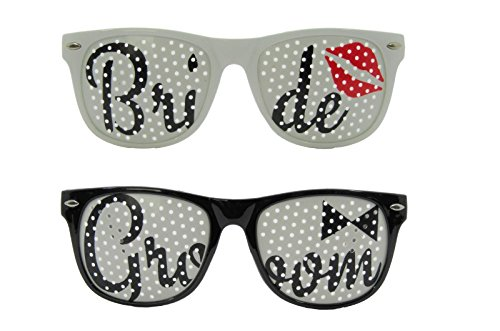 Bride and Groom Sunglasses Set - Wedding Supplies Favors Props Glasses - Great for Photo Booth and Wedding ()
