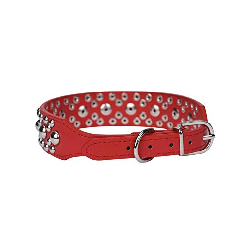 cola-site Adjustable Leather Rivet Spiked Studded Pet Puppy Dog Collar Neck Strap,As Shown1,S ()