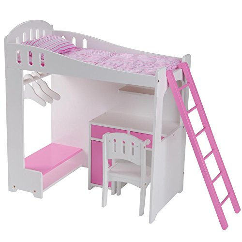 Constructive Playthings Today's Girl Doll Loft Bed 8-Piece Playset - For 18'' Dolls and Accessories - Ages 4+